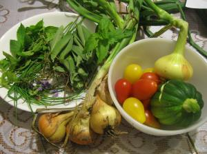 One of the first harvests: onions, pear tomatoes, a cracked acorn squash, and some herbs